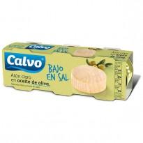 Atún Calvo Claro en Aceite de Oliva Bajo en Sal 3 latas 80 gramos cada una