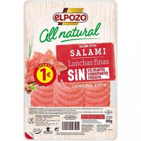 Elpozo Salami All Natural 80 gramos